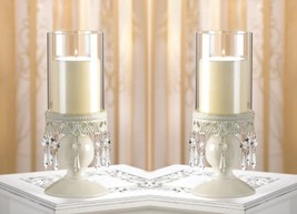 2 Hurricane Candle Holders w/ Elegant Ivory Lacy Jeweled Base Victorian Style  - $39.95