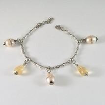 Pulsera de Plata 925 Rodiado con Cuarzo Citrino y Perlas Fw con Cristales - $92.84
