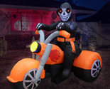 BZB Goods 6 Foot Long Halloween Inflatable Skeleton Ghost Riding on Motorcycle B