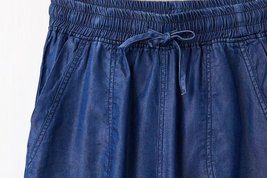 Dark Blue Denim CROP PANTS Drawstring Elastic Waisted Crop HAREM PANTS Trousers image 3