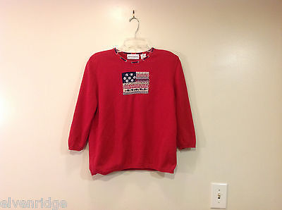 Alfred Dunner Red 3/4 Sleeve Sweater USA Flag Imitation, Size M, 100% cotton