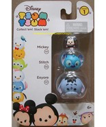 Disney Tsum Tsum 3 Pack Series 1 Mickey 101 Stitch 165 Eeyore 157 StackE... - $8.00
