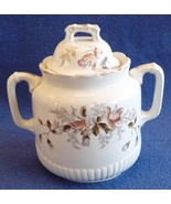 antique ironstone sugar bowl moss rose pink large large pottery white Vi... - $32.00