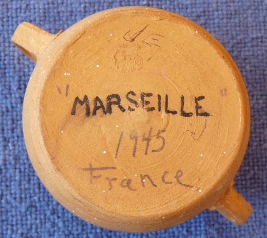 French hand painted pottery crock mini sea 1945 vintage