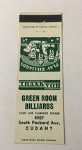 Vintage Matchbook Cover Matchcover Green Room Billiards Cudahy - $3.80