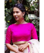 Fuchsia raw silk boat neck blouse | Ready made Indian Saree Blouse - $35.99