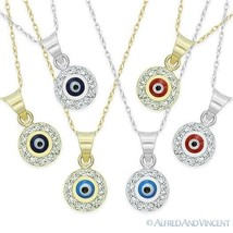 Evil Eye 14k Gold Pendant Turkish Nazar Greek Mati Charm Hamsa Kabbalah Necklace - $119.99
