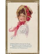Vintage Postcard Pretty Woman in Flowered Hat 1910 La Praik Ball - $6.92