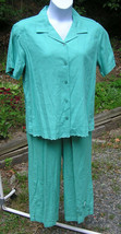 Kim Rogers Womens NWT 2pc Capri Pants Suit Top Shirt Top Sz M L Aqua Green - $26.19