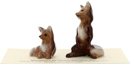 Hagen-Renaker Miniature Ceramic Figurine Fox Papa and Baby 2 Piece Set