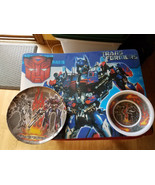 Transformers 2007 Movie Place Mat Bowl & Dish Set Optimus Prime Megatron - $9.99