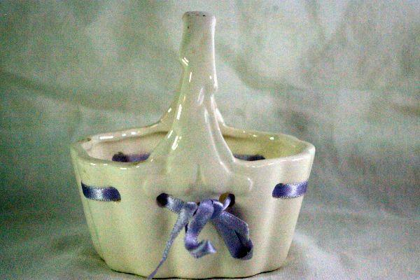 Primary image for Lefton 1984 White Basket With Purple Ribbon 4""