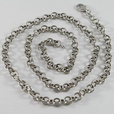 SOLID 18K WHITE GOLD CHAIN, NECKLACE, WITH ROUND LINK, CIRCLE, MADE IN ITALY