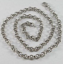 Solid 18K White Gold Chain, Necklace, With Round Link, Circle, Made In Italy - $1,007.00