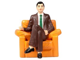 Vintage MidCentury Sculpture - Kitsch Ceramic Man Figure Sitting in Chair - $32.73