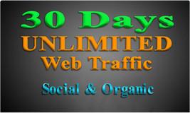 Get UNLIMITED Organic & Social WEB TRAFFIC 100-300+ Daily Web Visitors 3... - $5.95+