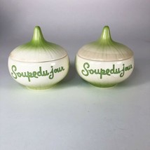 "Vintage Soupdejour Onion Jars  Lorrie Design  4"" x 4"" Set Of 2 - $682,16 MXN"