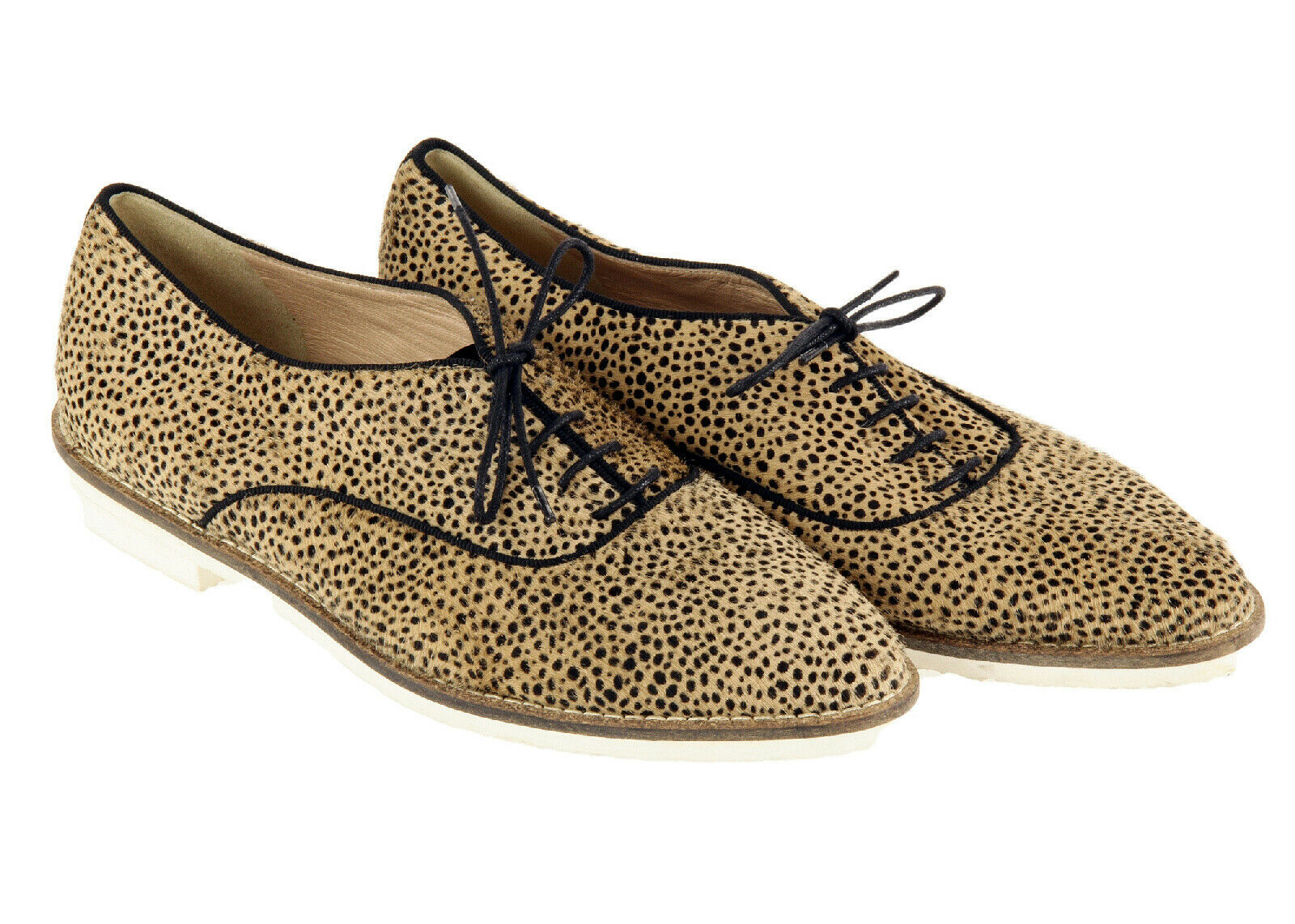 Primary image for J Crew Women's Calf Hair Oxfords In Tan And Black Polka Dot 7 Womens Shoes Flats