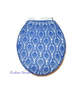 Hand Crocheted Cotton Toilet Tank & Lid Cover Set, Royal Blue  - $225.00