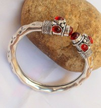 Red Onyx Free size Open Silver Plated Cuff Bangle / Bracelet B-2 - $7.99