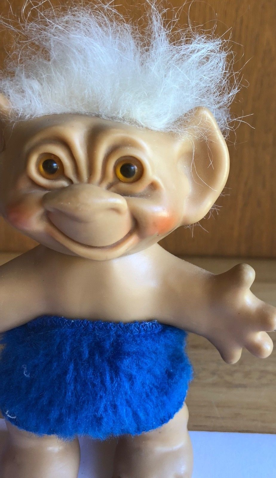 Vintage Troll Doll Wishnik Uneeda 1960s - White Hair Blue Clothes 6""