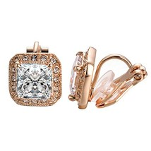 Yoursfs Clip Earrings For Women 18K Rose Gold Plated Square Shape Clip-o... - $14.43