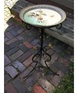 Antique Art Nouveau Wrought Iron Gothic Table /Plant Stand w Porcelain T... - $247.45