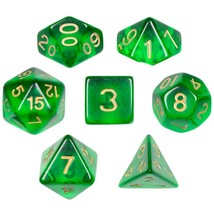 Polyhedral Dice Set, Green Translucent 7 Polyhedral Dice, With Velvet Pouch - $14.99