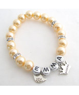 Custom Personalized Pearl Bracelet Girls Name Flower Bracelet Princess B... - $9.60