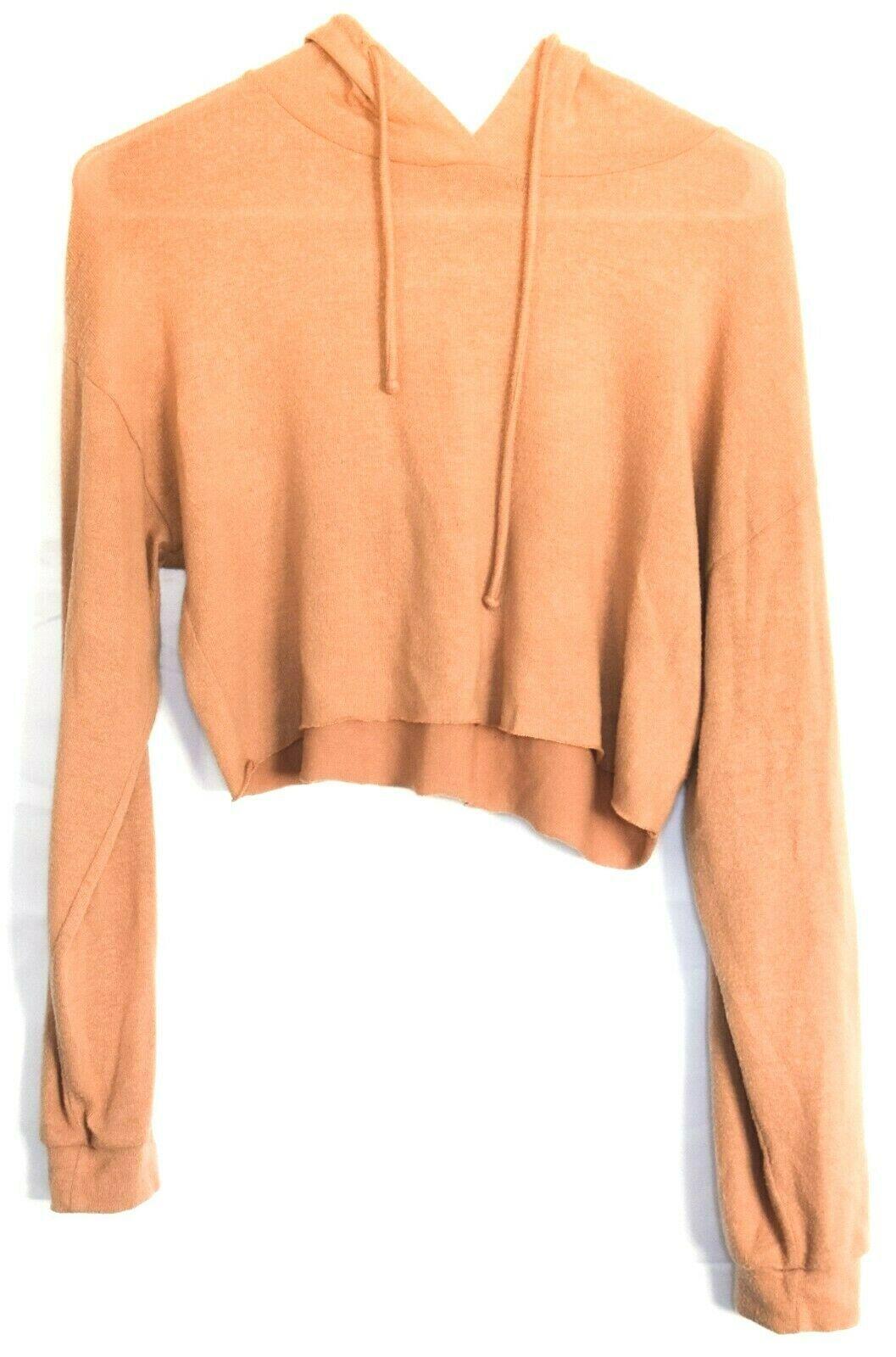 Forever 21 Terra Cotta Orange Raw Hem Cropped Long Sleeve Hooded Top Size S
