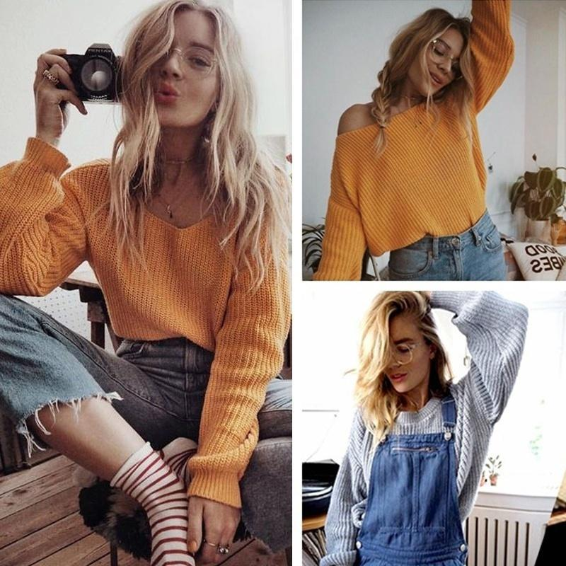 Women Knitted Sweater Batwing Sleeve Tops Pullover Coat Loose Outwear