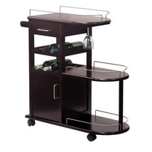 Winsome Wood Entertainment Cart w/ Glass Rack & Drawer in Dark Espresso - $195.08
