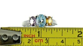 Ladies Size 9.25 Sterling Silver Multi Color 3 Stone Fashion Ring No. 2131 image 7