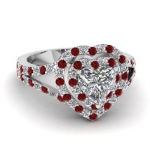 Solid 18k White Gold Red, White Diamond Double Heart Halo Design Engagement Ring - $579.99