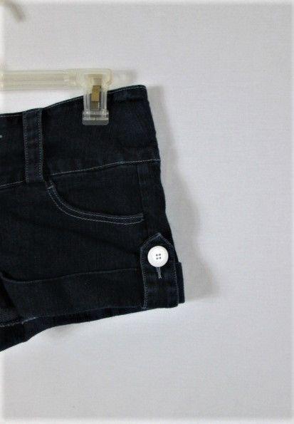 DEB JEANS  WOMENS  7  DENIM DARK BLUE BUTTON FLY CUFFED LEGS SHORT SHORTS  (L)