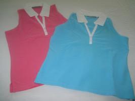 2 Liz Claiborne Sleeveless Stretch Knit Pullover Tops w/WHITE COLLAR/TRIM-EUC - $8.99