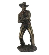 "12.5"" Cowboy Firing a Pistol Gun Statue Western Figurine Country Figure American - $62.99"