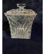 Glass Cookie Jar Decorative With a Cover Engraved Flowers Vintage - $29.70