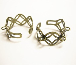 4pc antique bronze  adjustable ring shanks with 3 loops-9559 - $1.25