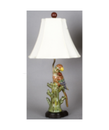 """Large Colorful Parrot Figurine 28"""" Lamp w White Shade & Finial - $168.00"""