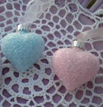 Shabby Aqua Pink Glass Hearts Ornaments Tree Hand-Painted Valentine Day ... - $28.99