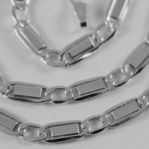 18K WHITE GOLD CHAIN FLAT GOURMETTE ALTERNATE 4 MM OVAL LINK 17.7 MADE IN ITALY image 2