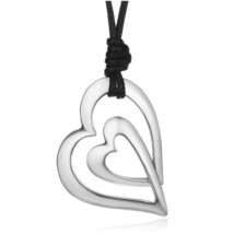 Shineland Trendy 3 Style Love Heart  PU Leather Chain Vintage Antique Silver Col - $15.26