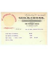1896 invoice waybill Cross St Johnsbury Vermont cheese cigars candy baker - $8.00