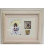 DeGrazia Flower Boy Picture in Shadow Box Dried Flowers Whitewashed Frame - $24.74