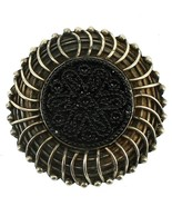 Antique Sterling Mourning Jet Black Lace Button Center Beaded Brooch Pin - $53.99