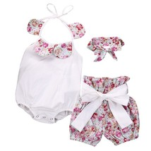 3pcs Hot Sale Summer Baby Girl Jumpsuit+Shorts Floral Print Sleeveless R... - $11.39