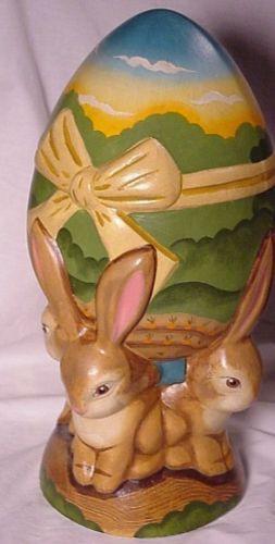 Vaillancourt Folk Art 4 Bunnies Easter Egg Center Piece For Table