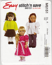 Easy Stitch 'n' Save Doll Pattern by McCall's Sewing Pattern M6151for 18... - $4.74