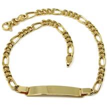 Bracelet or Jaune 18K 750, Plaque, Chaîne Figaro Alterné, Épaisseur 3.5mm image 1